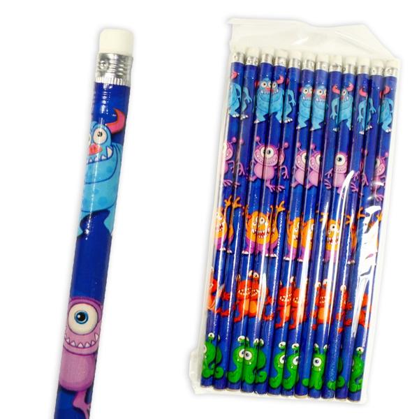 Monster Bleistifte, 12 Kinderbleistifte mit Radierer und witzigen Monstern
