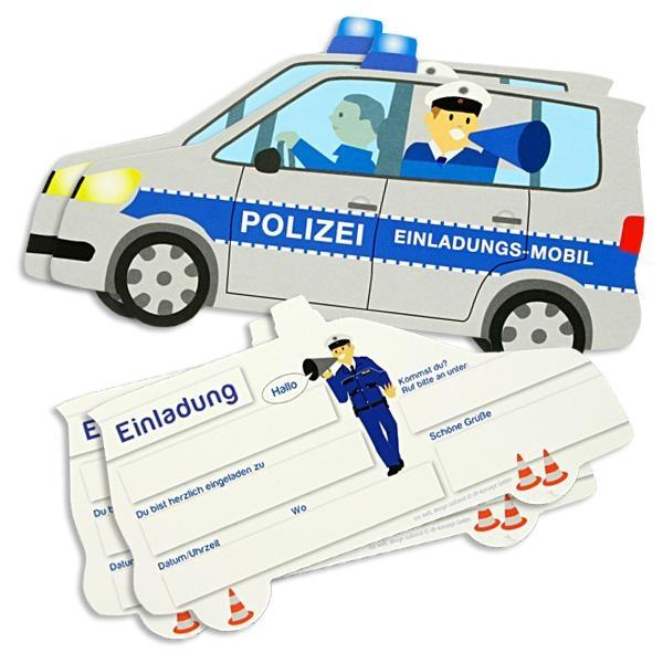 Polizei Einladungskarten, 6er Pack Einladungen als Polizeiauto, 18x10cm