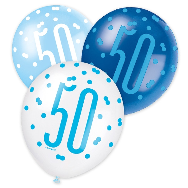 Latexballons mit Zahl 50, blaue/weiße Ballons, 30cm