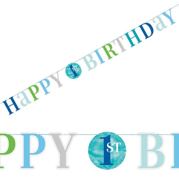 1. Geburtstag BLUE DOTS Buchstabenkette, 1 Stk, 1,82m