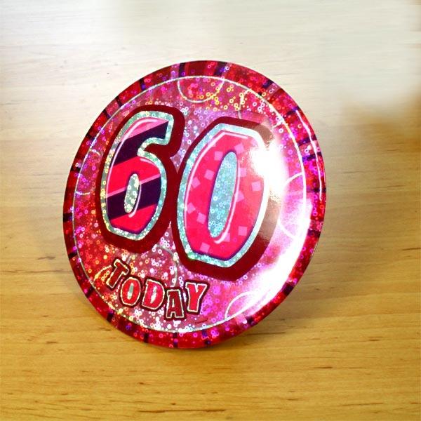 Zahl 60 Glitzer-Button, 15cm, zum Anstecken +Anstecknadel