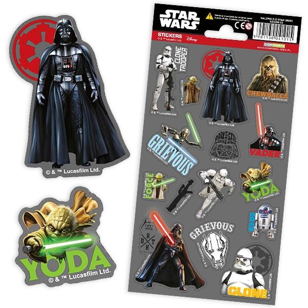 STAR WARS-Sticker-Bogen, 15 Aufkleber für die Fans von Darth Vader und Yoda