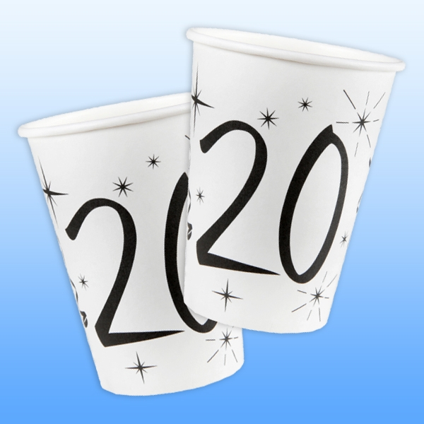 Becher zum 20. Geburtstag, 10 Stk. für 200 ml Partygetränk, aus Pappe