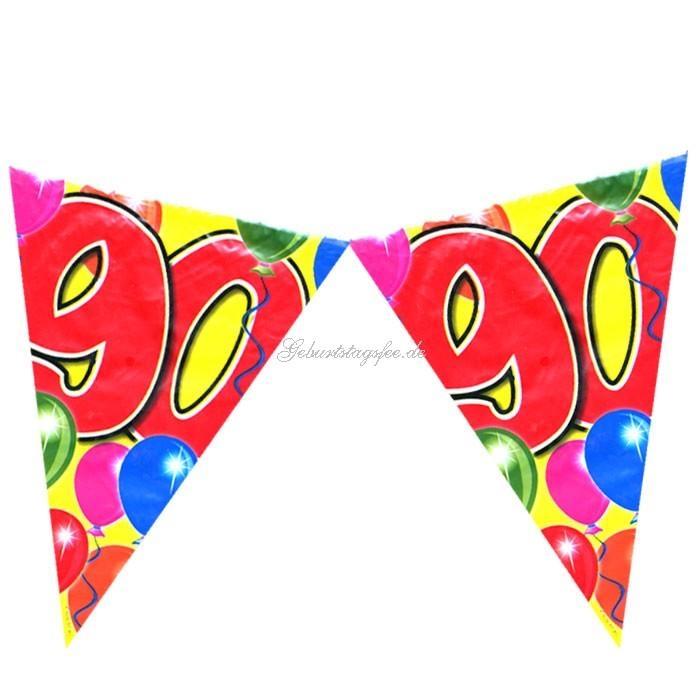 Wimpelkette zum 90. Geburtstag, 10m Partywimpel, Folie