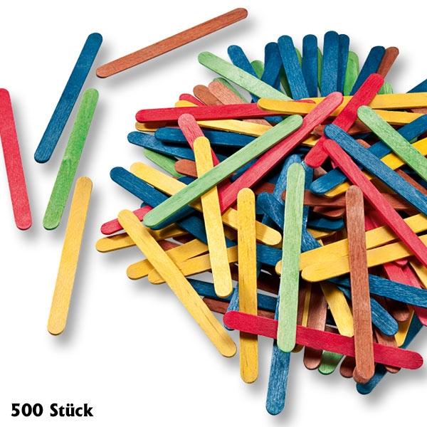 Bunte Holzstäbchen zum Basteln, 500 Stück, tolle Farben, 11,4x1cm
