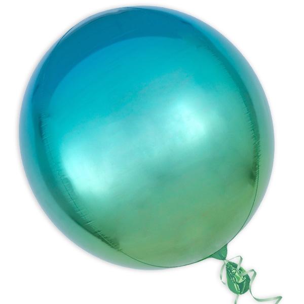 """Orbz"" Folienballon in Grün-Blau, kugelrund, Ø 38cm"