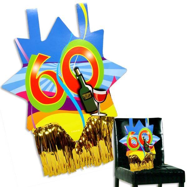 Stuhldeko zum 60. Geburtstag, die besondere Platzmarkierung, ca. 31x71 cm, mit Goldfransen