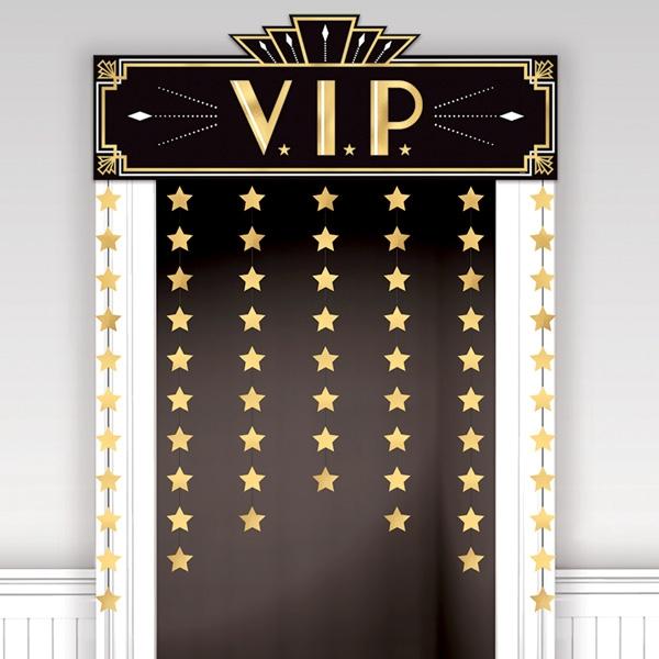 VIP Raumdeko für die Tür, Vorhang und Schild, schwarz, gold