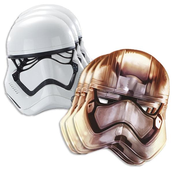 Star Wars Partymasken im 6er Pack, mit Gummiband, Force Awakens