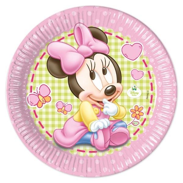 Partyteller Minnie Baby, 8er, 23cm, für die Babyparty eines Mädchens