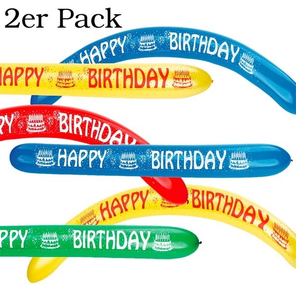 Happy Birthday Wurm-Luftballons, längliche Latexballons 2er Pack,1,2 m