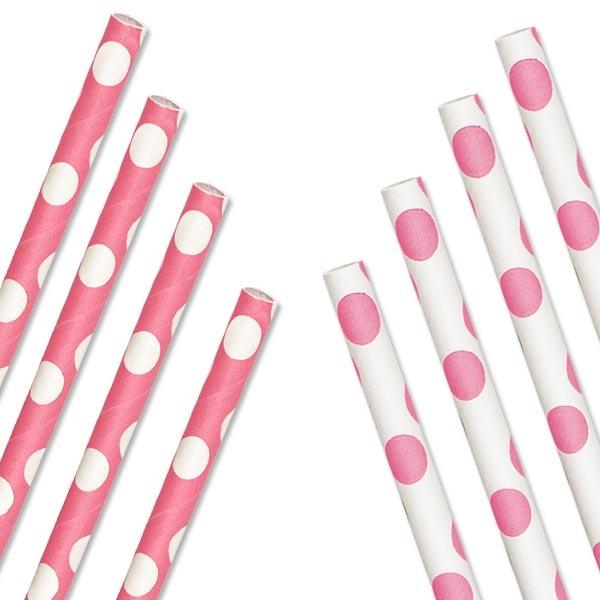 Punkte-Trinkhalme, gepunktete Tischdeko, Zartrosa-Weiß, 10er,2 Designs