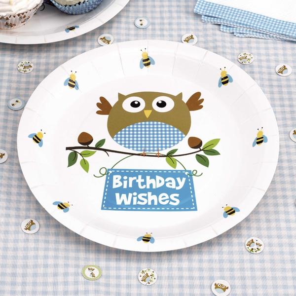 """Geburtstagsteller Kleine Eule """"Birthday Wishes"""", ca. 23cm, 8er Pack"""