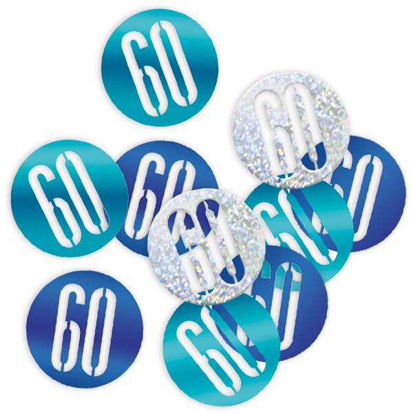 Happy Birthday Glitzerkonfetti Zahl 60, blau-silberne Deko
