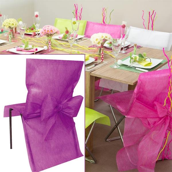 Stuhlhussen violett Vlies, 10 Stück, lila Hussen aus 100% Polyester