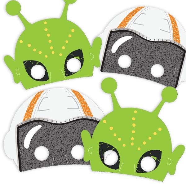 Weltall Masken, 8er Pck mit 2 versch. Designs