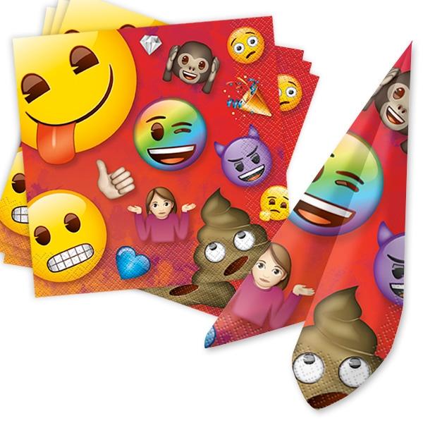 Emoji Rainbow Fun Servietten, 16 Stk, 33x33cm