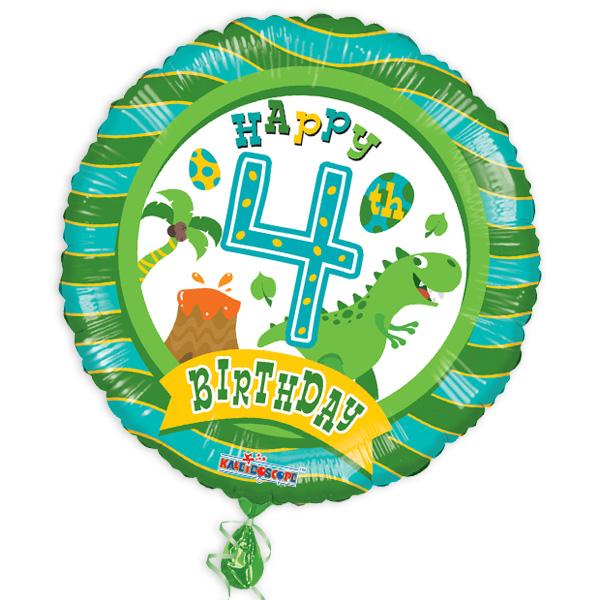 "Folienballon ""Happy 4th Birthday"" mit Dinosauriermotiv"