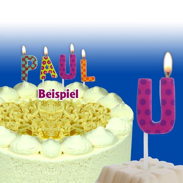 Mini Kerze Buchstabe U, 2,5cm, für Namen vom Geburtstagskind, 1 Stück