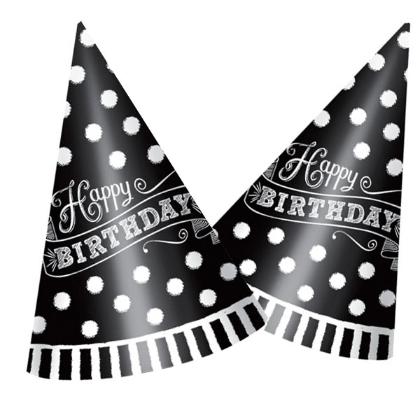 Black & White Partyhütchen im 12er Pck, Papphüte zum Geburtstag