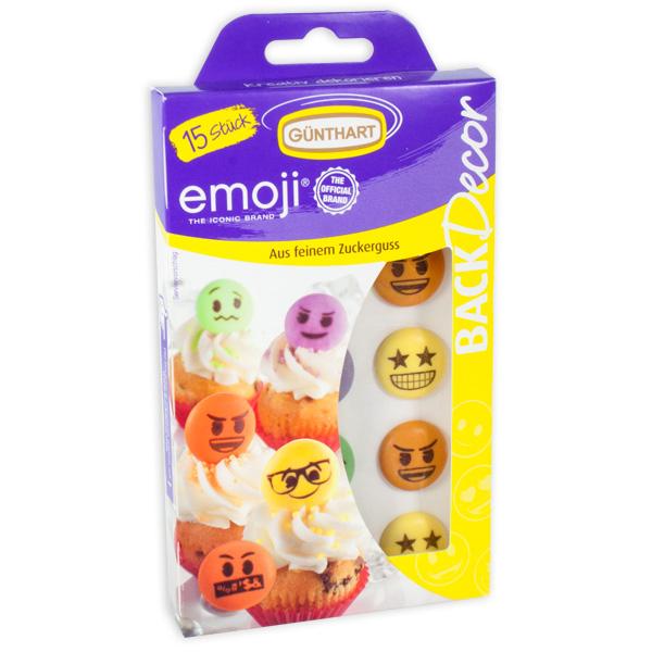Emoji Tortendeko aus Zucker, 15 Stück