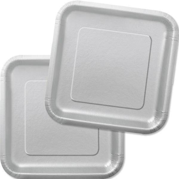 Partyteller eckig silbern, 16 Stück, quadratische Pappteller in Silber