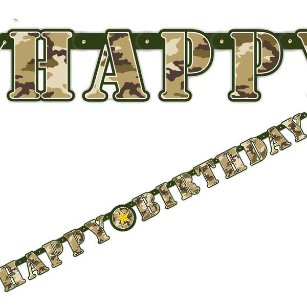 Tarnfarben-Partykette 1,6 m Pappe, Happy Birthday im Camouflage Look