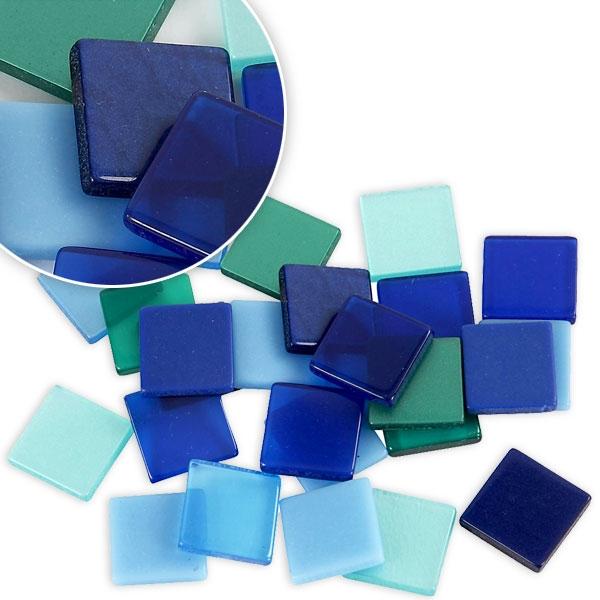 Mosaiksteine in Blautönen 25g, ca. 100 Mosaiksteinchen, je 1 x 1 cm