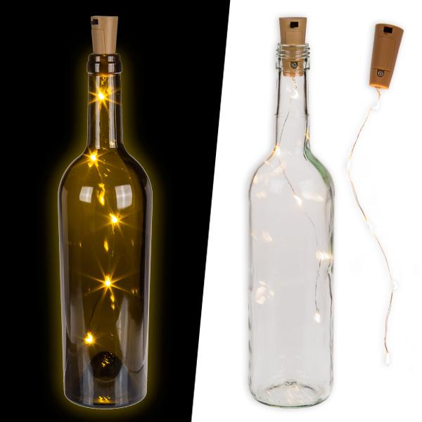 Flaschen-Lichterkette mit 5 LEDs am Flaschenkorken, Batterien inklusive