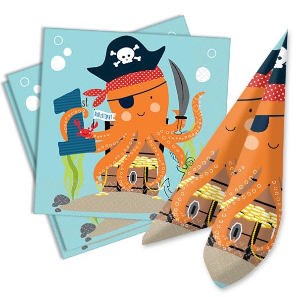 1. Geburtstag Ahoi Piraten Party Papierservietten, 16 Stk, 33cmx33cm