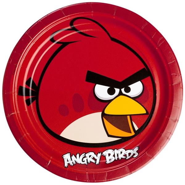 Angry Birds Partyteller im 8er Pack, 23cm, mit dem Hauptcharakter