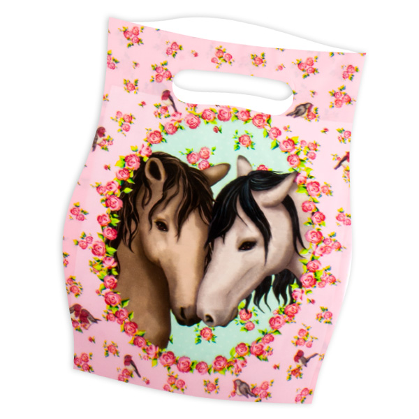 Pferde Tüten, Mitgebseltütchen für Pferdeparty aus Folie im 8er Pack