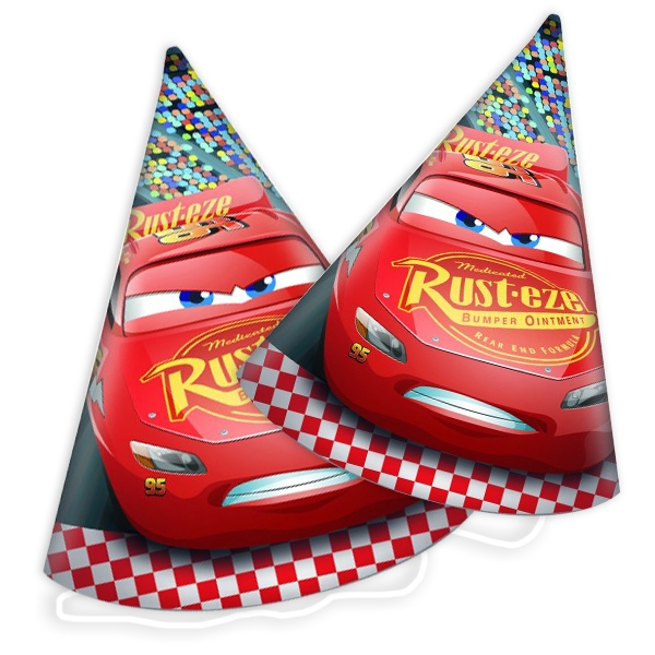 Cars 3 Partyhüte im 6er Pack mit Lightning McQueen, Pappe