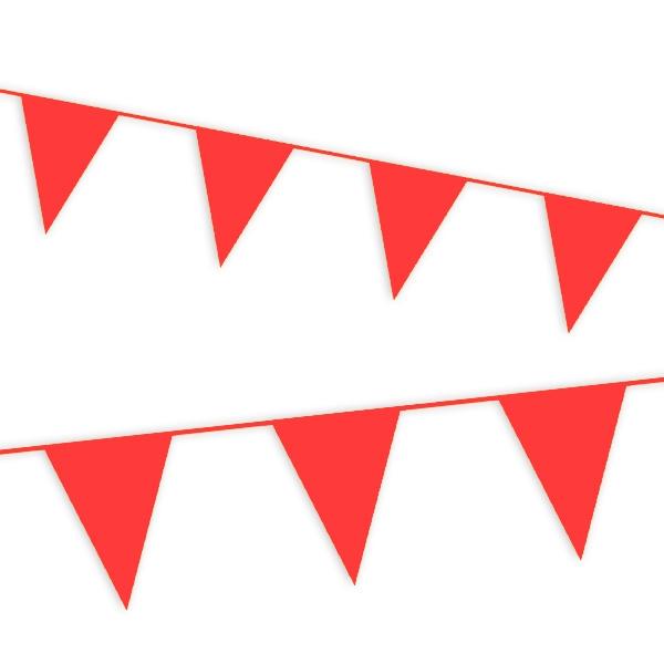 Wimpelkette rot, einfarbige Girlande mit Wimpeln aus Folie, 10m lang