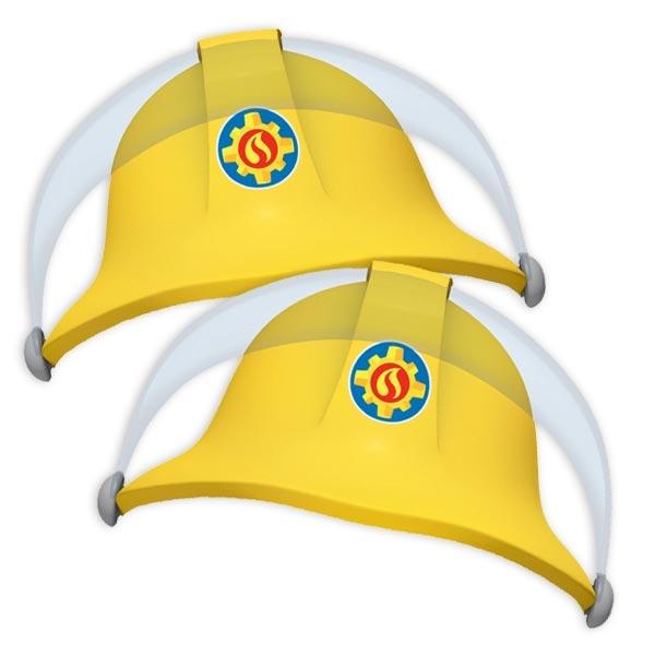 Feuerwehrmann Sam Partyhüte, 8er Feuerwehrhelme aus Pappe +Gummi