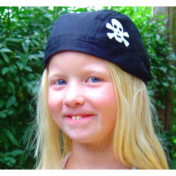 schwarzes Piratenkopftuch mit kleinem Totenkopfemblem, 1 Stück