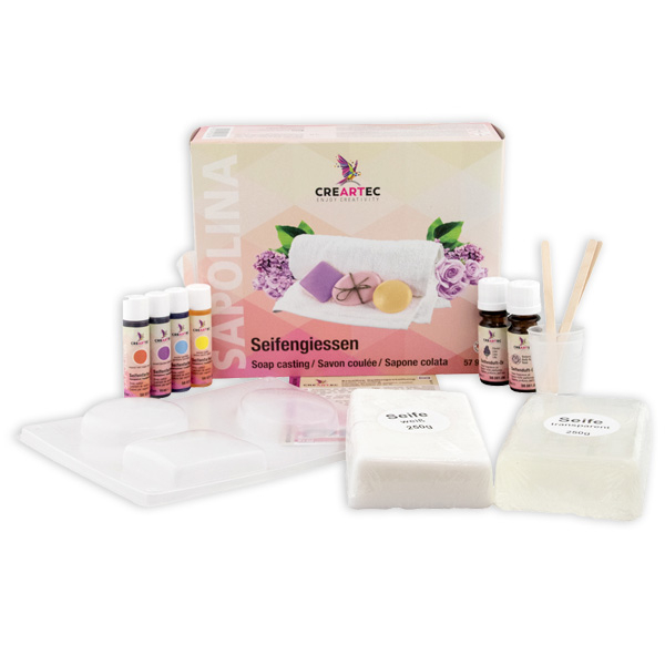 Seifengiessen-Set von Sapolina, 2 Seifenblöcke, 4 Seifenfarben, 2 Seifendüfte, 3 Seifenformen