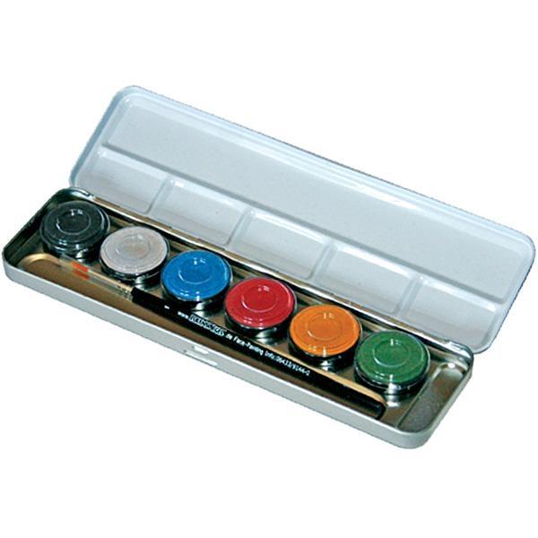 6 Perlglanz-Farben, Schmink Kit als Palette im Metalletui, nachfüllbar, u. Profi Schmink Pinsel