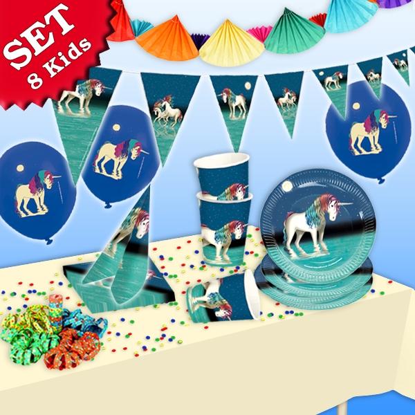 Einhorn Partyset, 8 Kids, 51-tlg. mit dem Einhorn Lunabelle für 8 Kids
