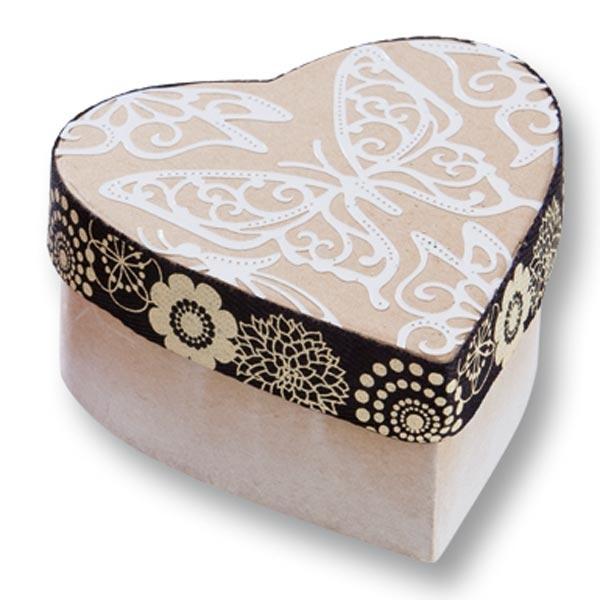 1 Pappbox Mini HERZ, 8x7,5x4 cm, natur, kreative Bastelidee als Geschenkverpackung zu Valentinstag