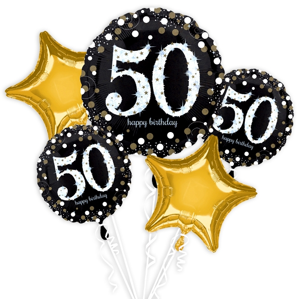 """50. Geburtstag"" Glitzer Ballon-Set, 5-teilig"