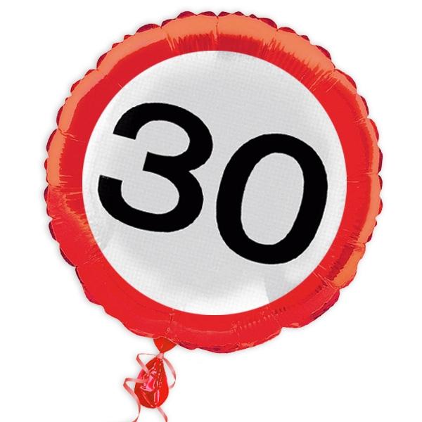 "Ballon ""Verkehrsschild"" zum 30. Geburtstag"