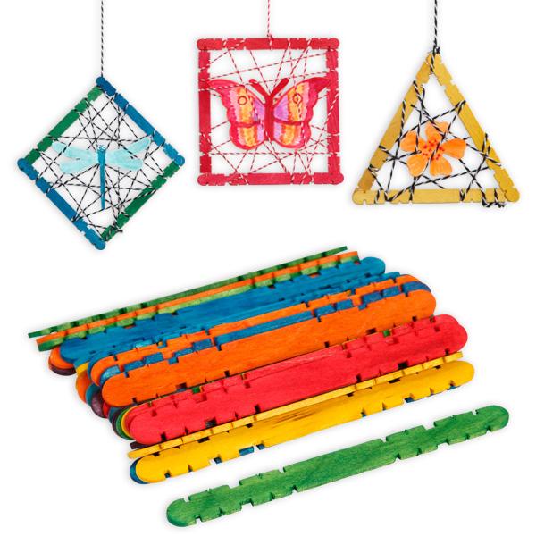 Holzstäbchen zum basteln,  30er Pack, verschiedene Farben