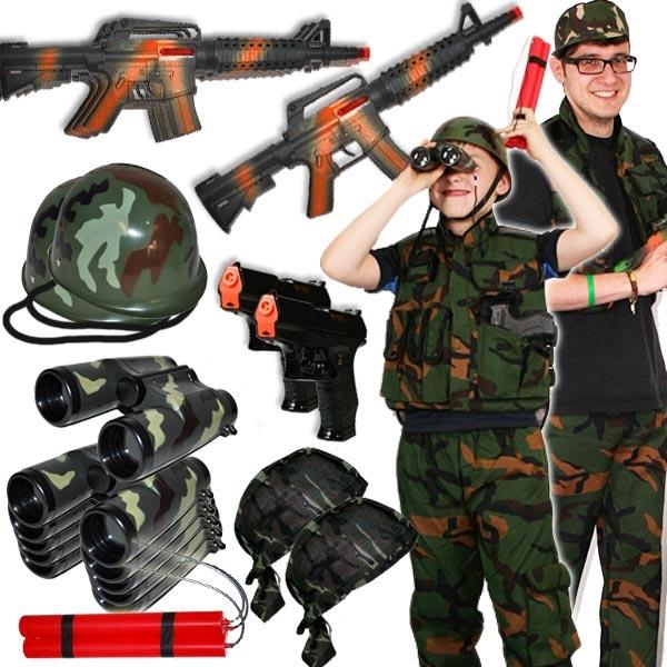 Verleihkiste Soldat, für 6 Kinder, coole Soldatenkiste vom Militäranzug bis Spielzeugpistole