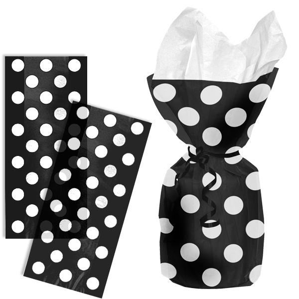 schwarze Tütchen gepunktet, 20 Geschenktüten aus transparenter Kunststofffolie