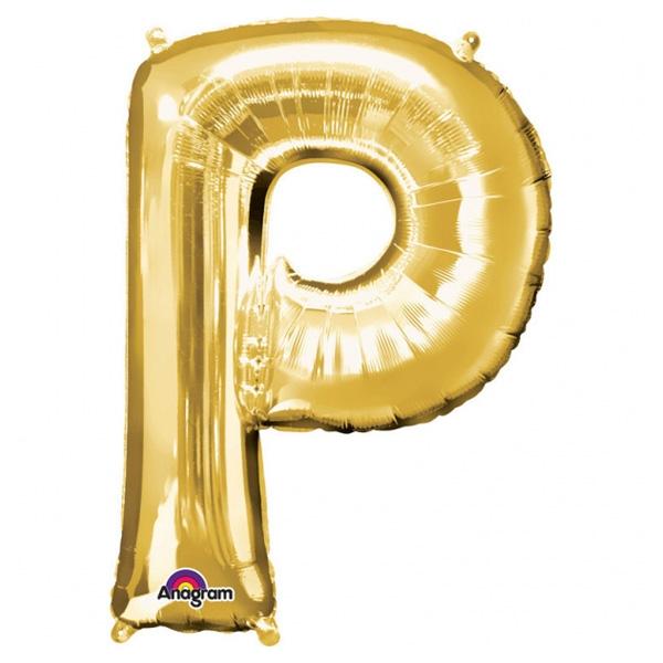 """Folienballon Buchstabe """"P"""" für goldene Namen in der Deko, 81cm"""
