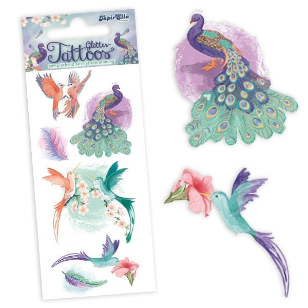 Paradiesvögel Glitter-Tattoos, 7 Klebetattoos für Kinder, glitzernd
