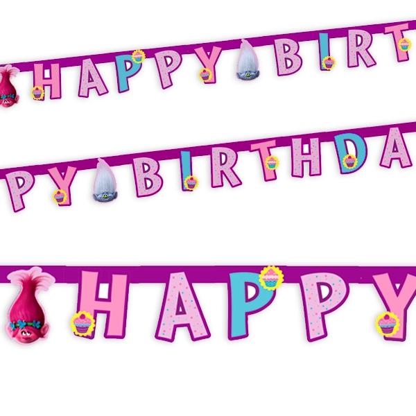 Trolls Buchstabenkette mit Happy Birthday-Glückwunsch, Pappe, 1,9m
