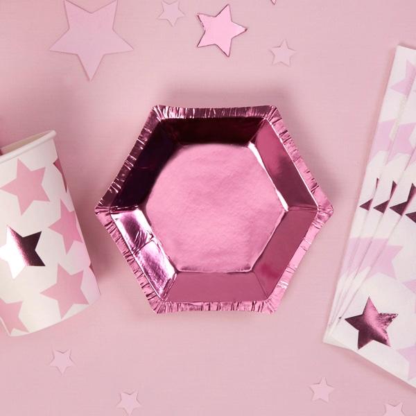 Sechseckige Mini-Teller in pink-metallic, 8er Pack, 12,5cm x 11cm