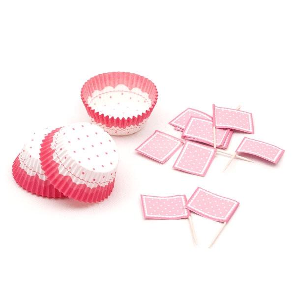 Muffinset, rosa gepunktet, 48-teilig